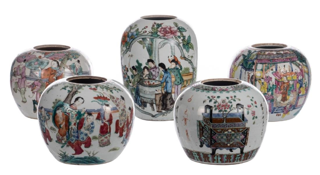 Five Chinese famille rose and polychrome decorated
