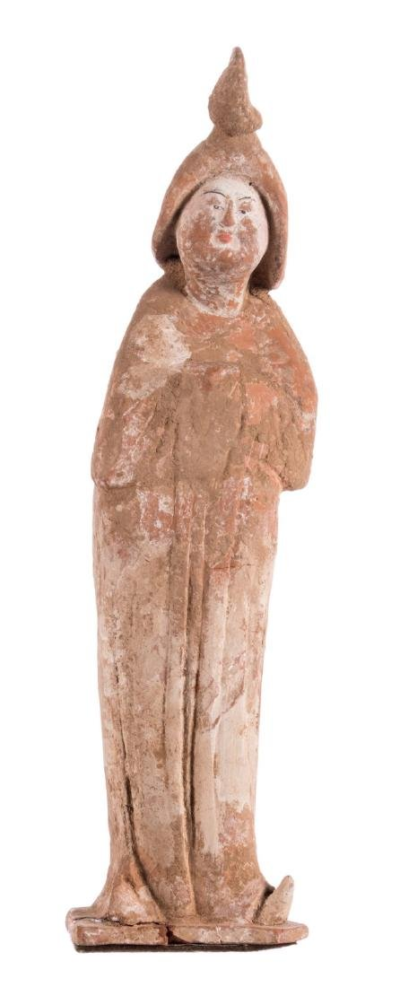 A Tang figurine so-called 'fat lady' with cold paint,