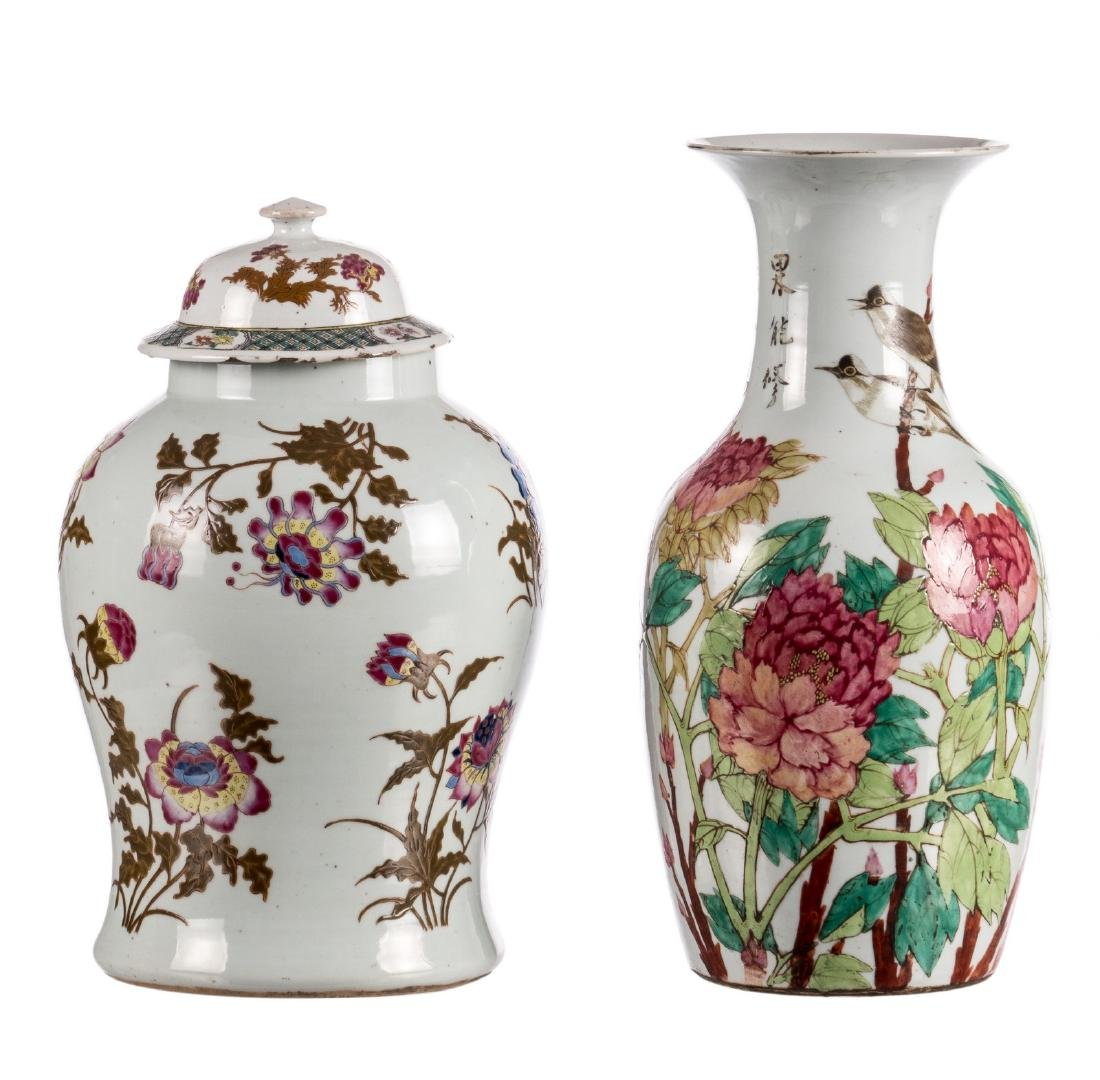 A Chinese famille rose vase and cover, decorated with