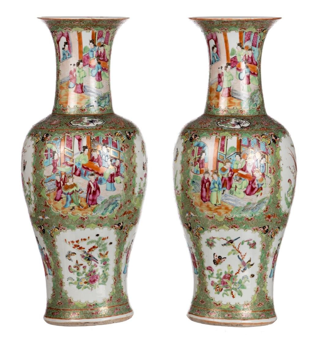 A pair of Chinese Canton famille rose balustre shaped