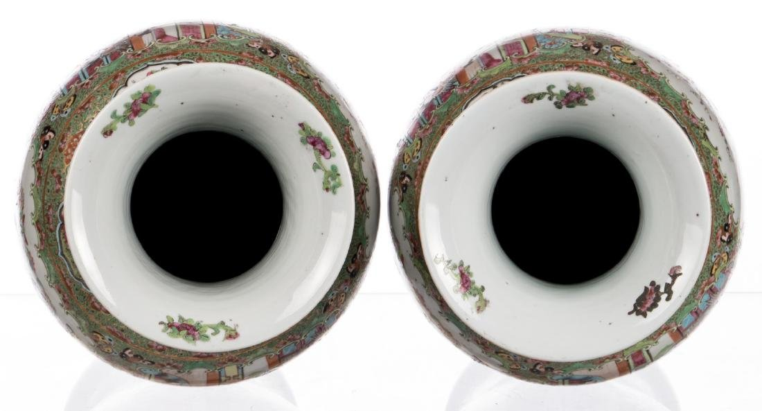 A pair of Chinese Canton famille rose balustre shaped - 5