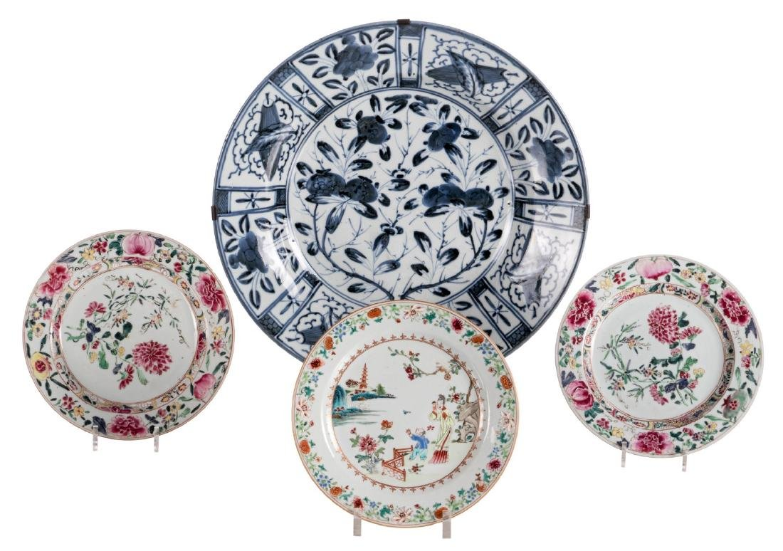 Three Chinese floral decorated famille rose dishes, one