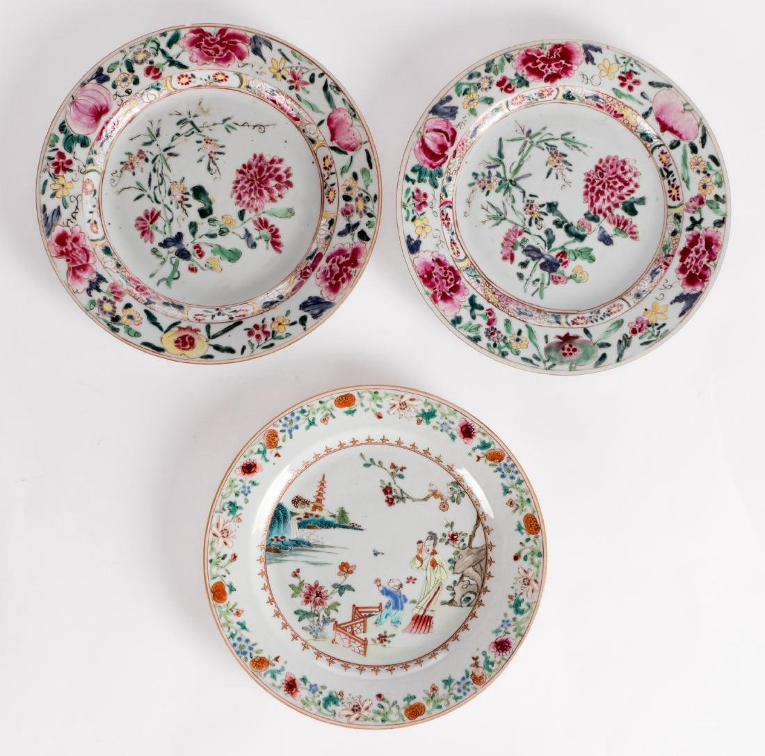 Three Chinese floral decorated famille rose dishes, one - 4