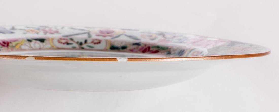 Three Chinese floral decorated famille rose dishes, one - 6