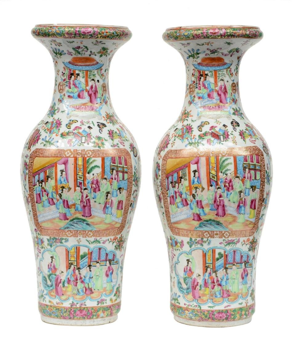 A pair of Chinese baluster shaped vases, famille rose