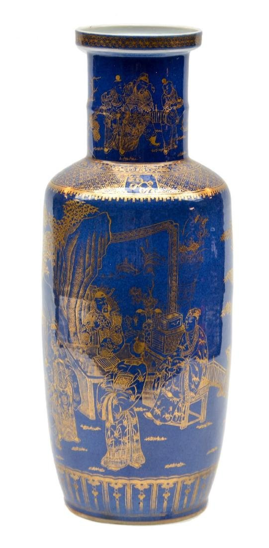 A blue-ground gilt decorated rouleau shaped vase, H