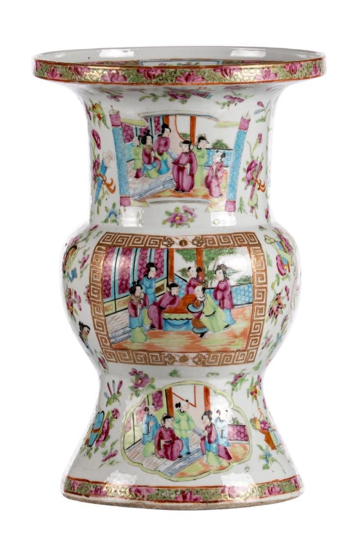 A Chinese famille rose Gu vase, the roundels decorated