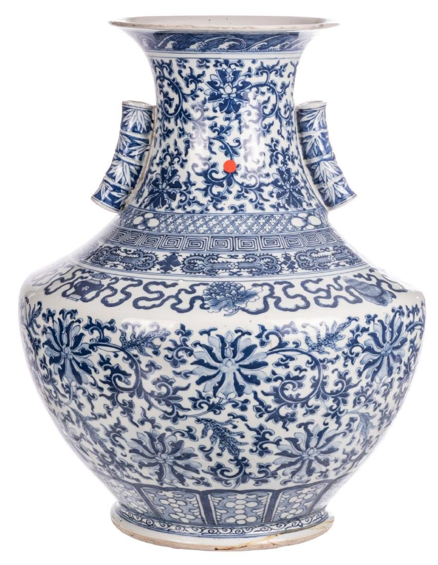 A Chinese blue and white Hu vase, decorated with floral - 2