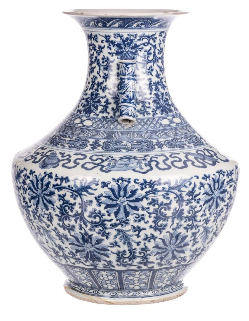 A Chinese blue and white Hu vase, decorated with floral - 3