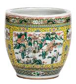 A Chinese yellow ground famille verte fish bowl the