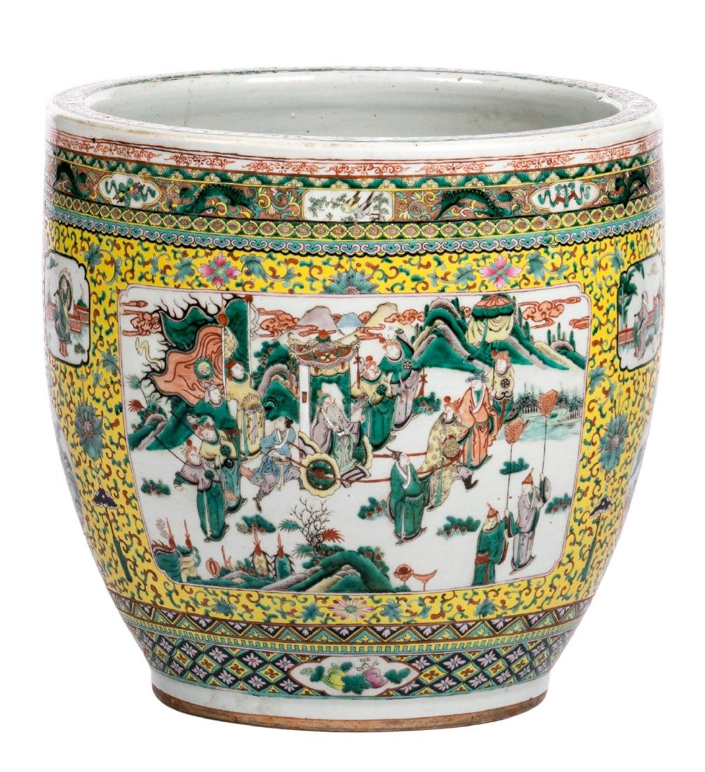 A Chinese yellow ground famille verte fish bowl, the