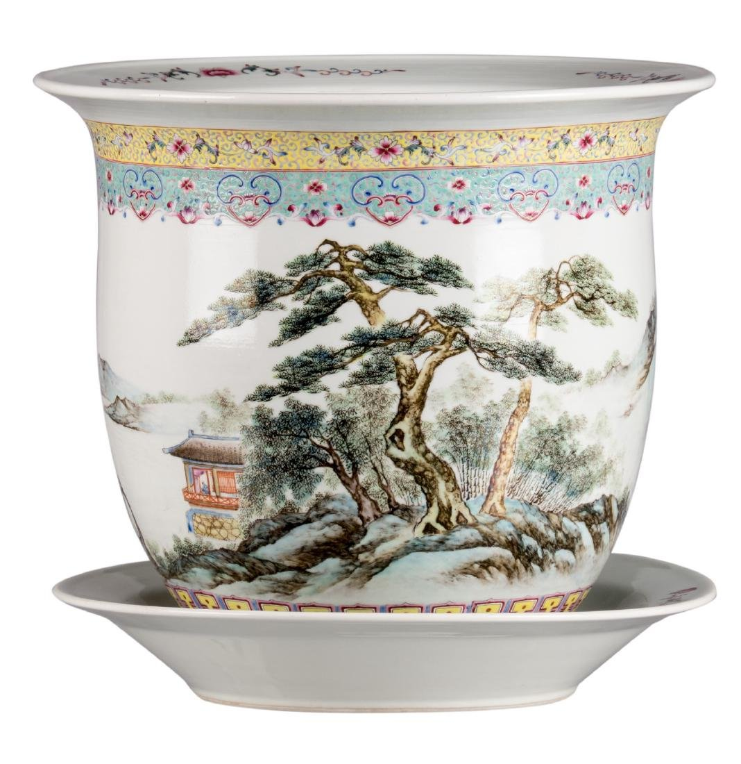 A Chinese famille rose and polychrome jardiniere with