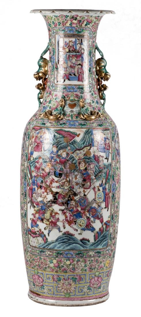 An impressive Chinese famille rose vase, decorated with