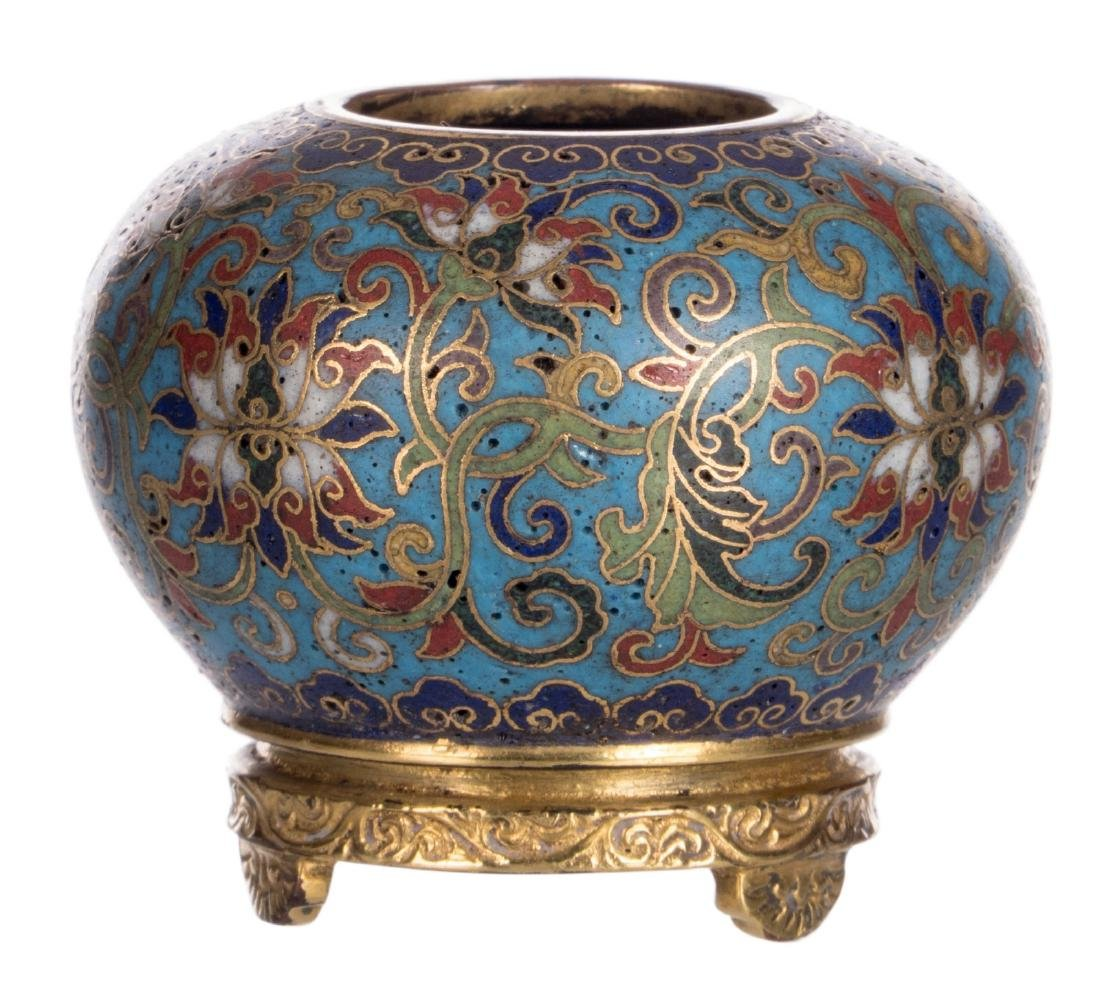 A Chinese miniature cloisonnŽ pot with floral