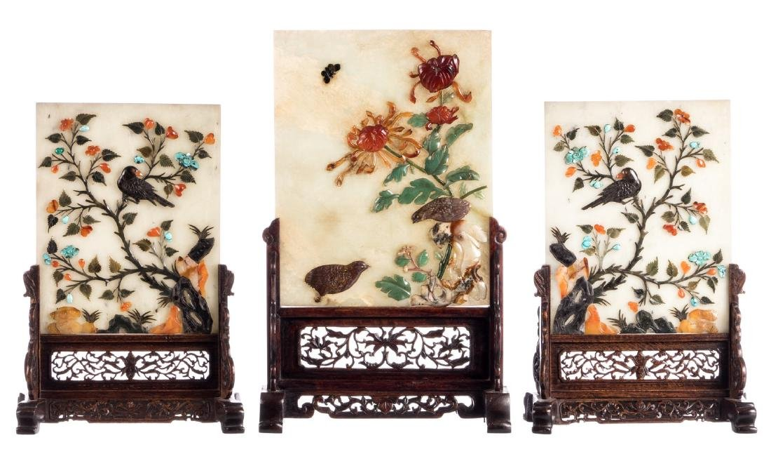 Three Chinese table screens with jade plaques,