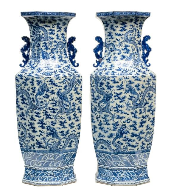 An imposing Chinese pair of octagonal vases, blue and