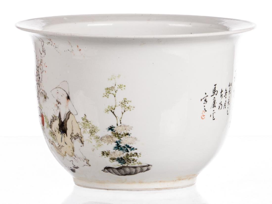 A Chinese polychrome decorated cache-pot with an - 2