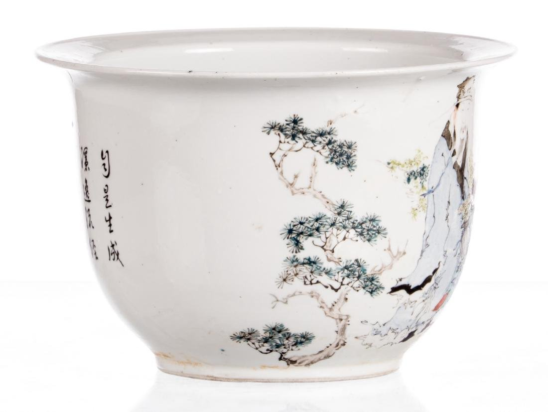 A Chinese polychrome decorated cache-pot with an - 4