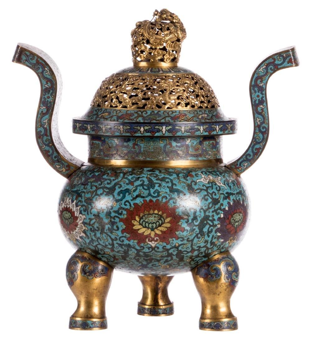 A Chinese cloisonnŽ tripod incense burner, floral