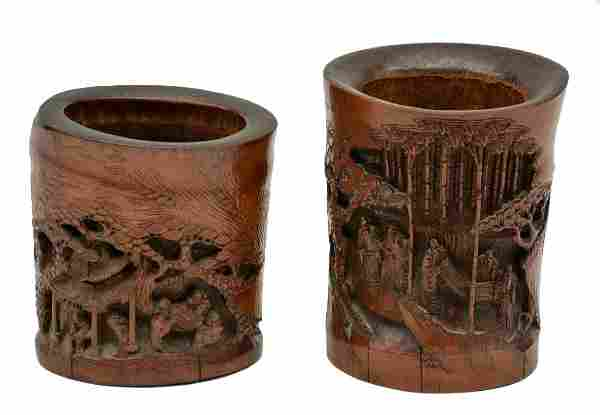 Two Chinese carved bamboo brush pots with literati in a