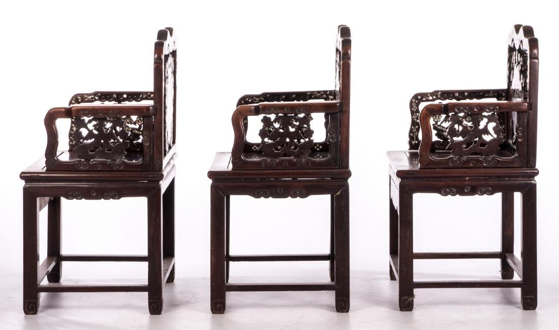Three Chinese carved hardwood armchairs with - 3