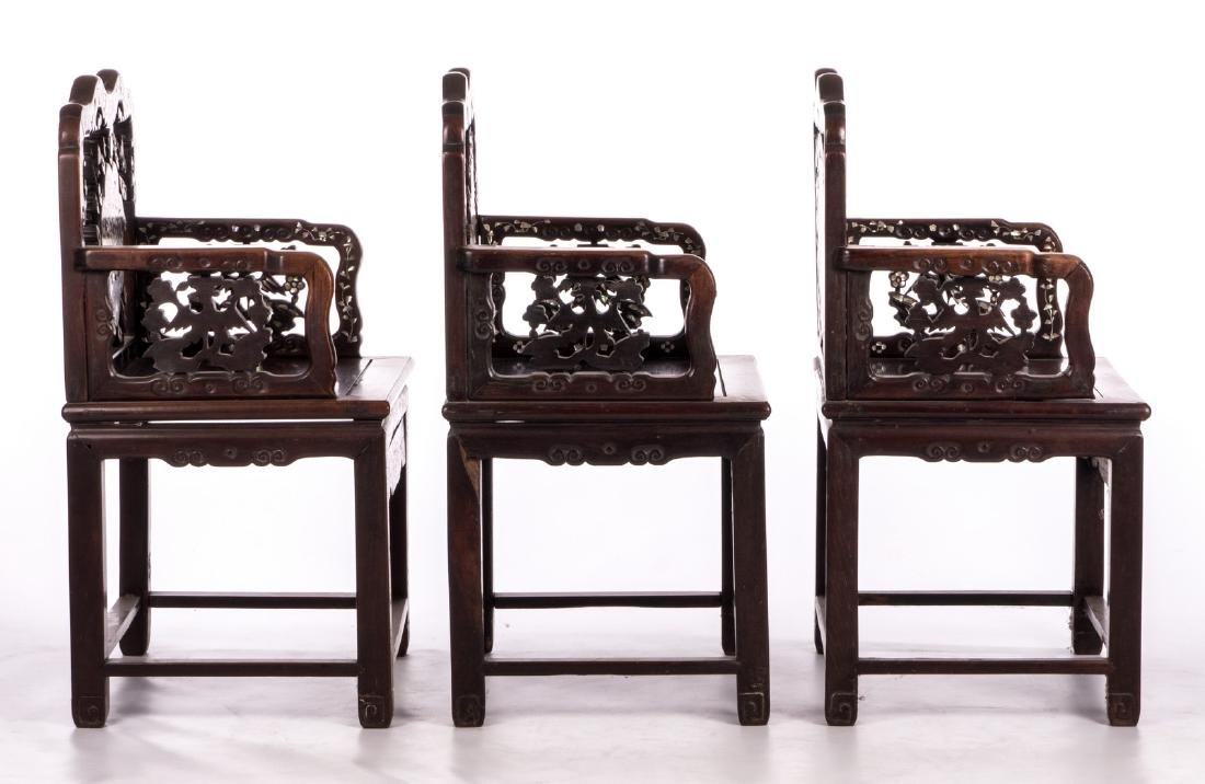 Three Chinese carved hardwood armchairs with - 5