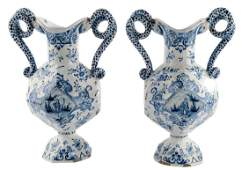 Two ornamental vases, tin glazed and blue decorated