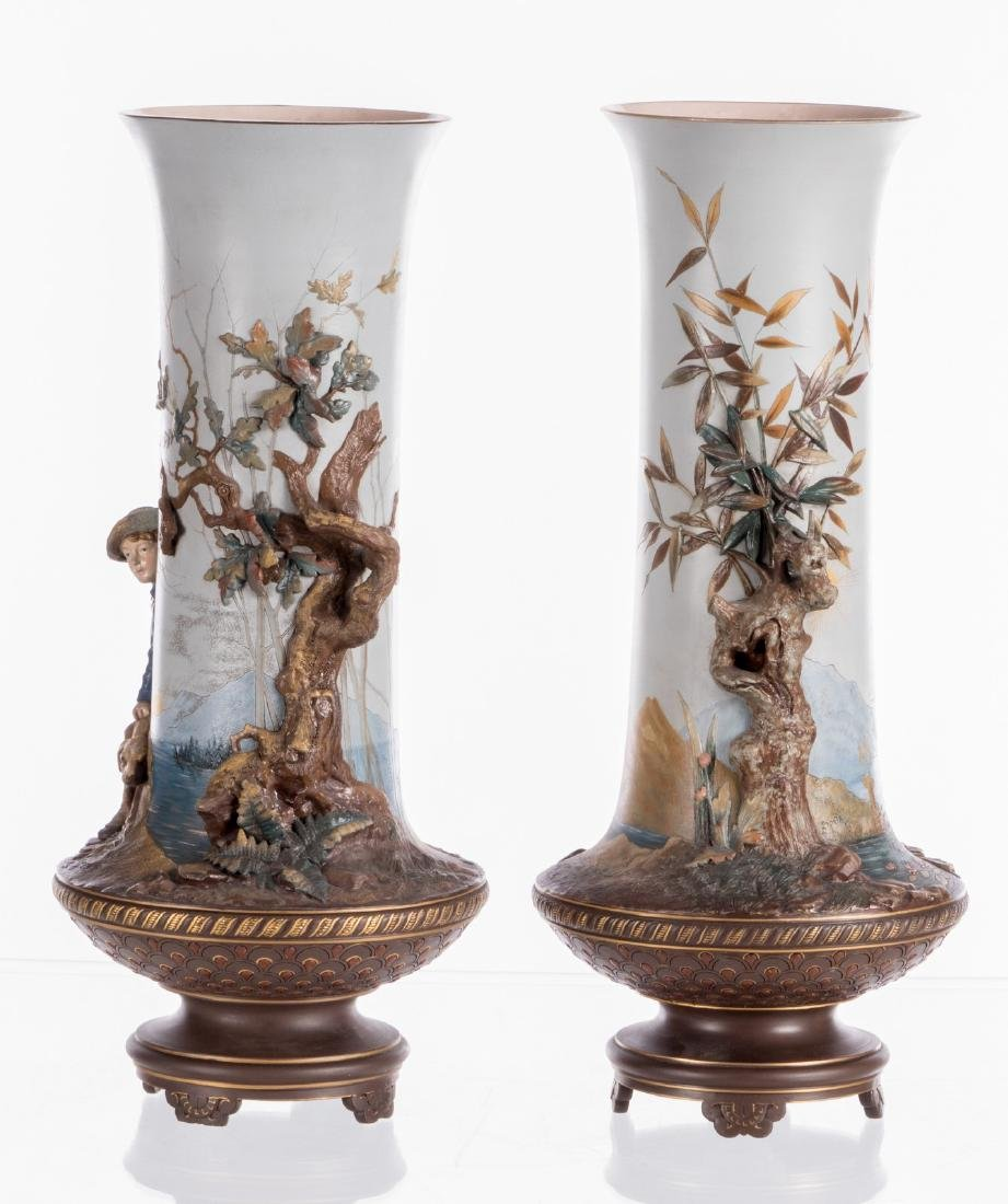 A pair of red stoneware vases, polychrome and partly - 3