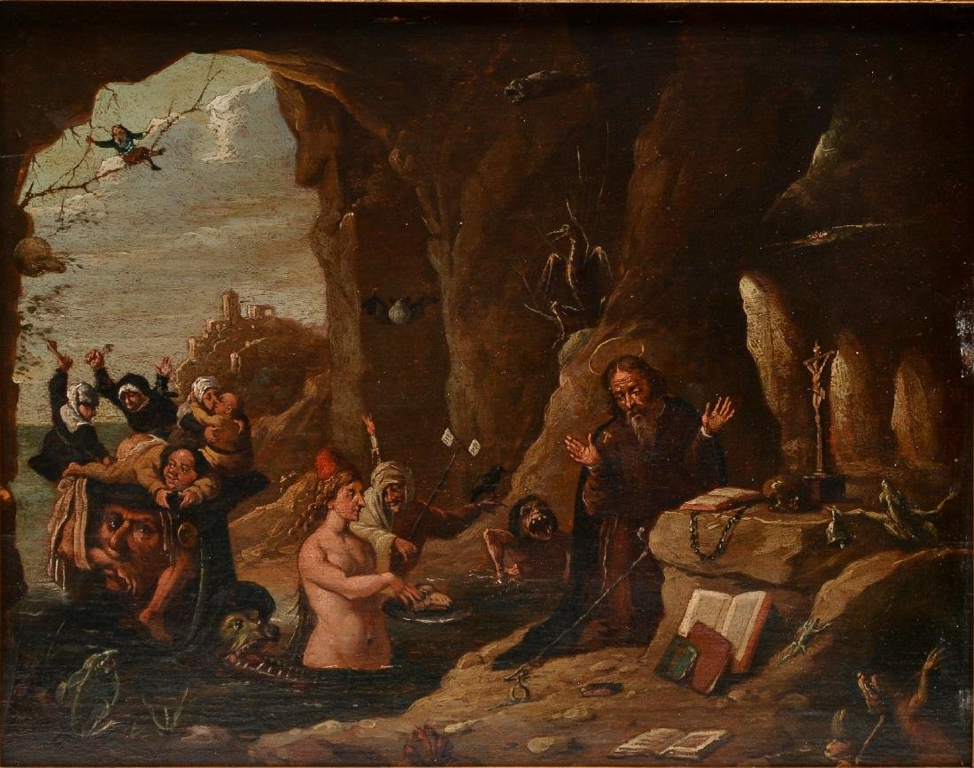 Non signed, the temptation of St. Anthony, oil - oak