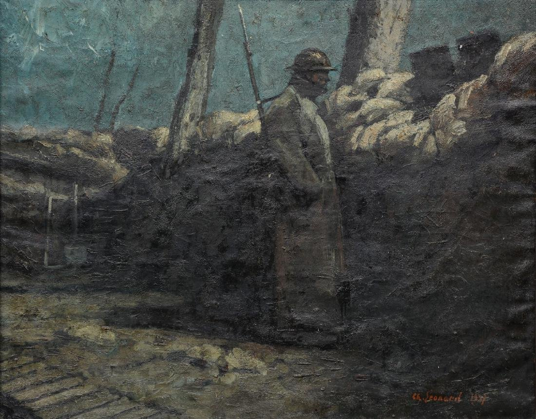 Leonard Ch., trench duty, oil on canvas, dated 1937, 73
