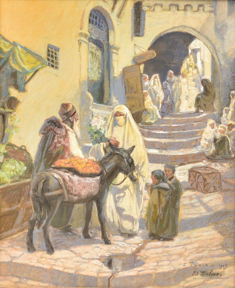 Delmas Ed., 'A Tunis - 1903', pastel, 19 x 59 cm