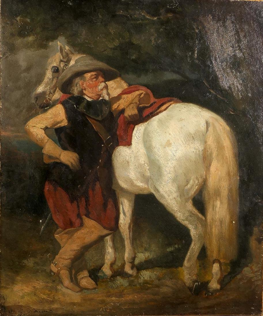 Illegibly signed (De Dreux?), rider with horse, oil on