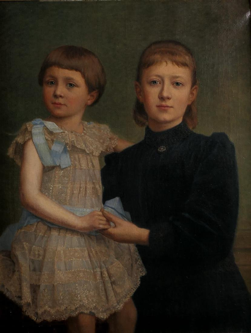 Unsigned, sisters, oil on canvas, about 1910, 62 x 80