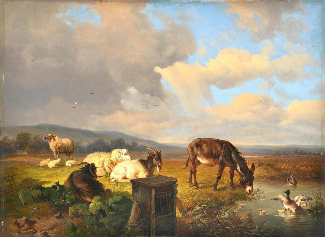 No signature, animals in a landscape, oil on panel,