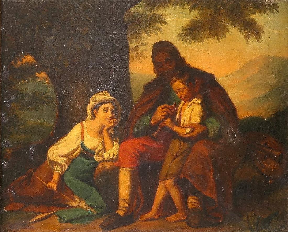 Bert E., the music lesson, oil on canvas, 19thC, 49 x