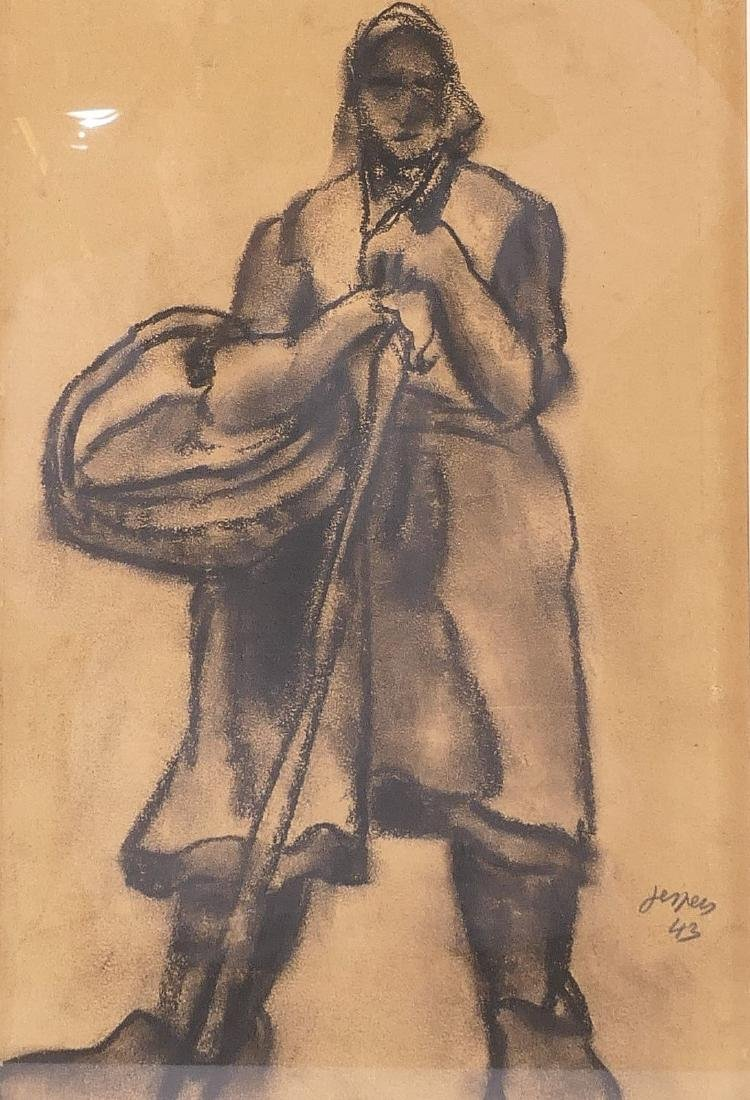 Jespers, peasant woman, charcoal on paper, dated