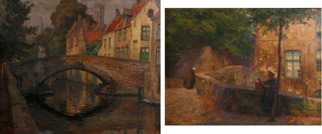 Rommelaere E., two views on Bruges, oil on panel and