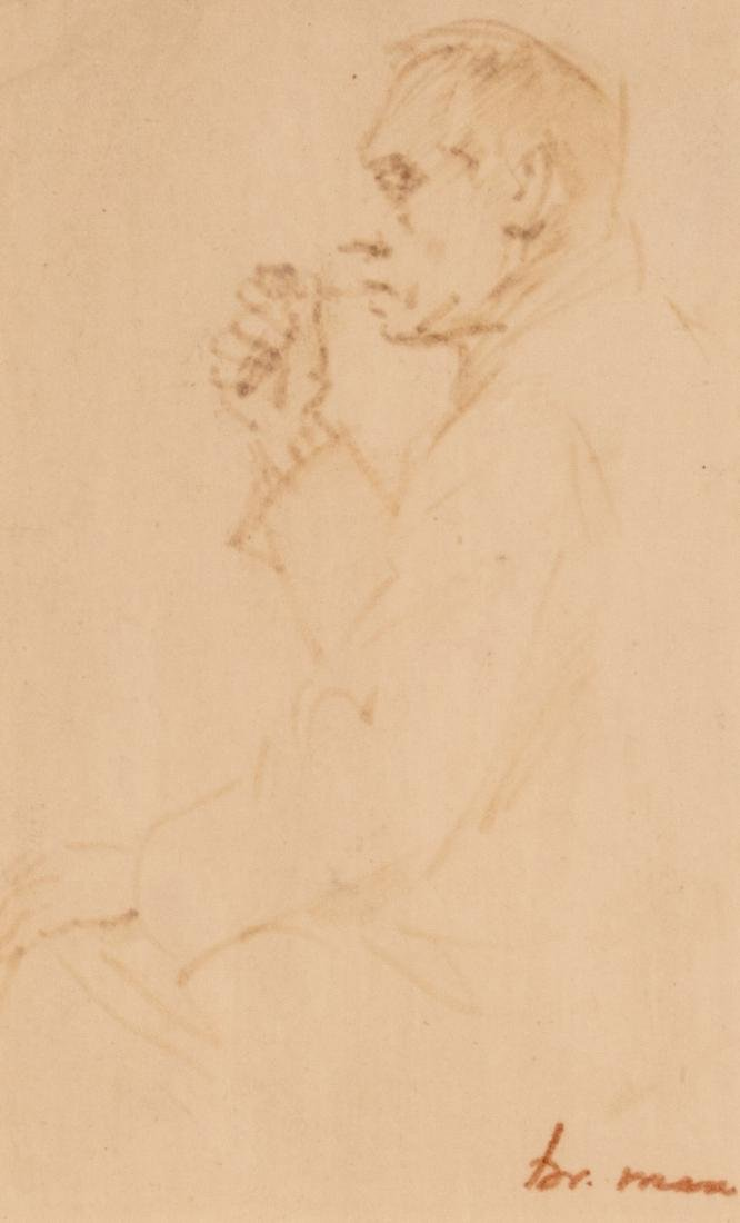 Max Br., portrait of a man, bistre on paper, 8 x 13 cm