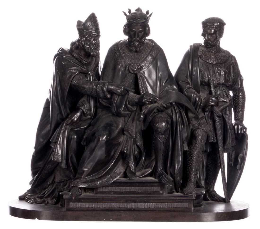 Unsigned, historicizing scene, bronze, late 19thC, H 31