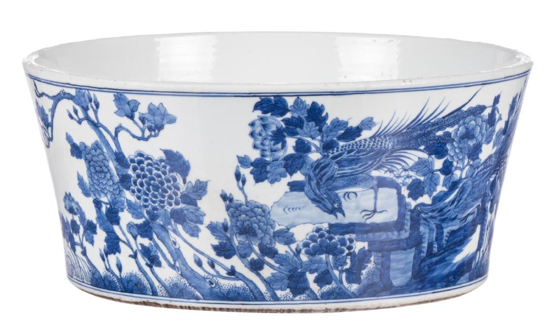 A large Chinese blue and white bowl, decorated with