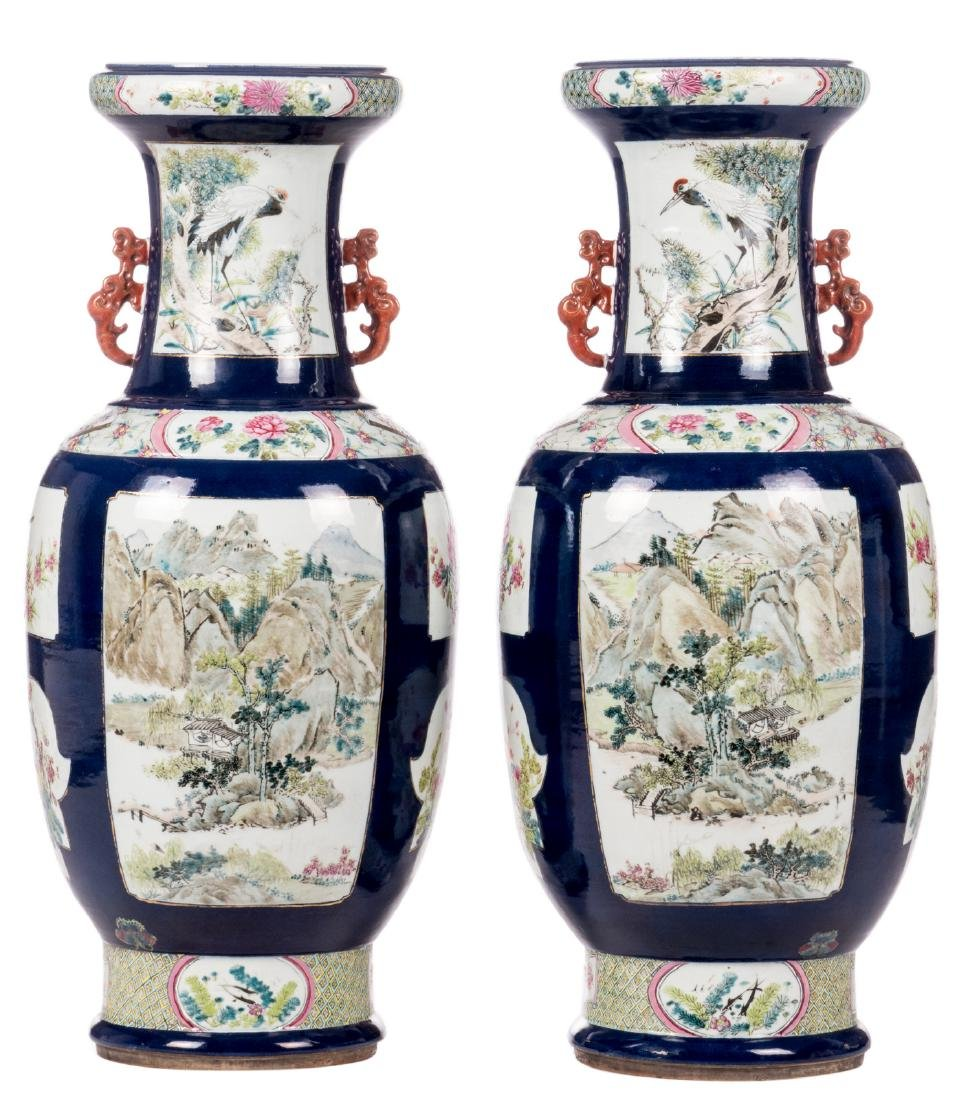 A pair of Chinese vases, blue ground, the roundels