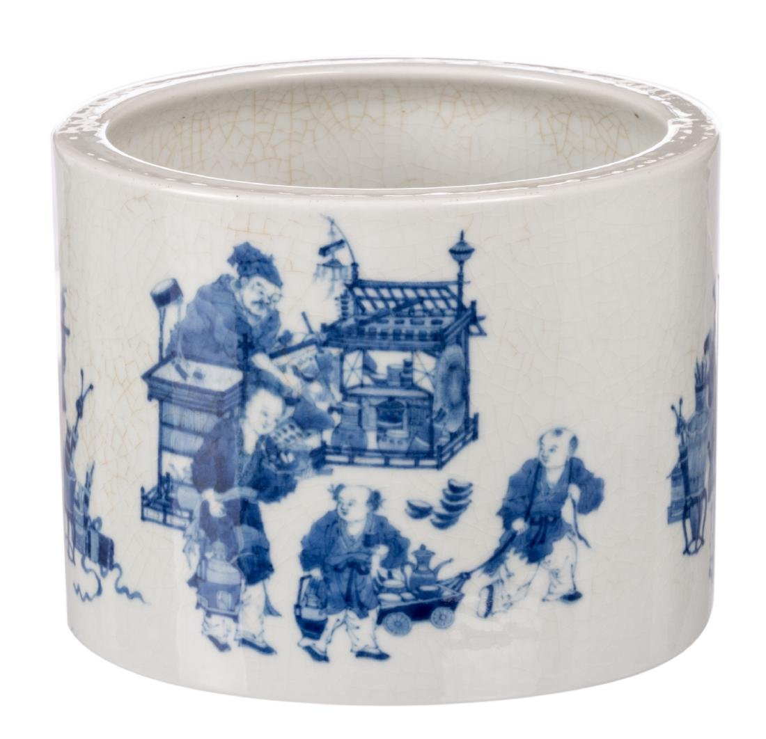 A Chinese blue and white brushpot, decorated with