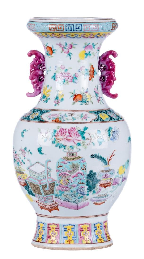A Chinese famille rose vase, overall decorated with