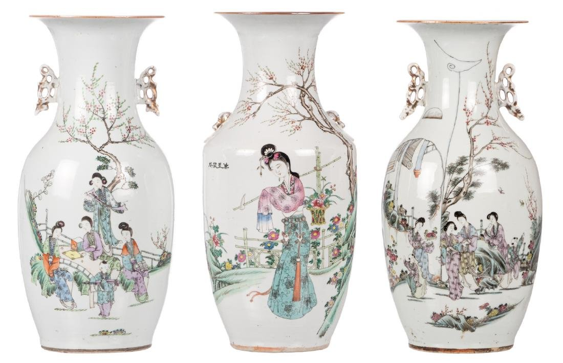 Three Chinese polychrome decorated vases with garden