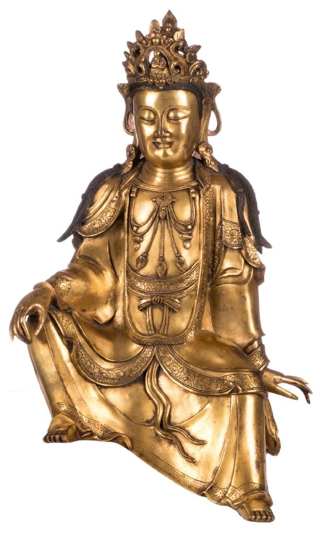 A Chinese gilt bronze seated Buddha, Qing-dynasty, H