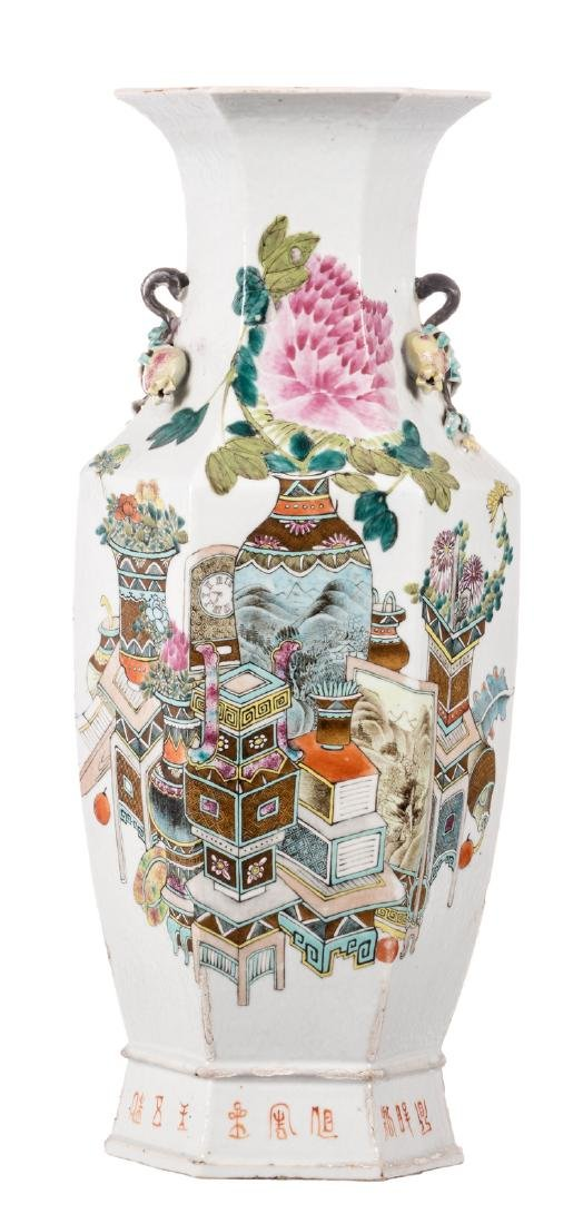 A Chinese famille rose hexagonal vase, decorated with