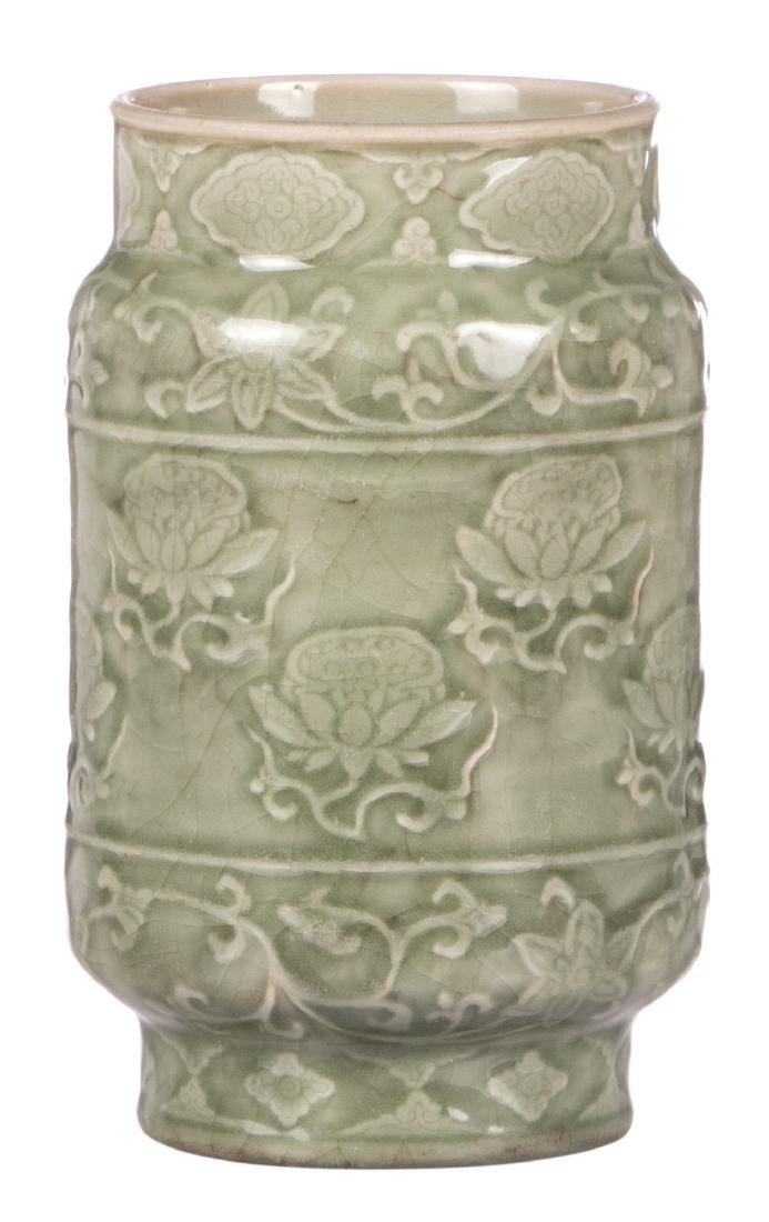 A Chinese celadon vase, decorated with flowers, H 22,5