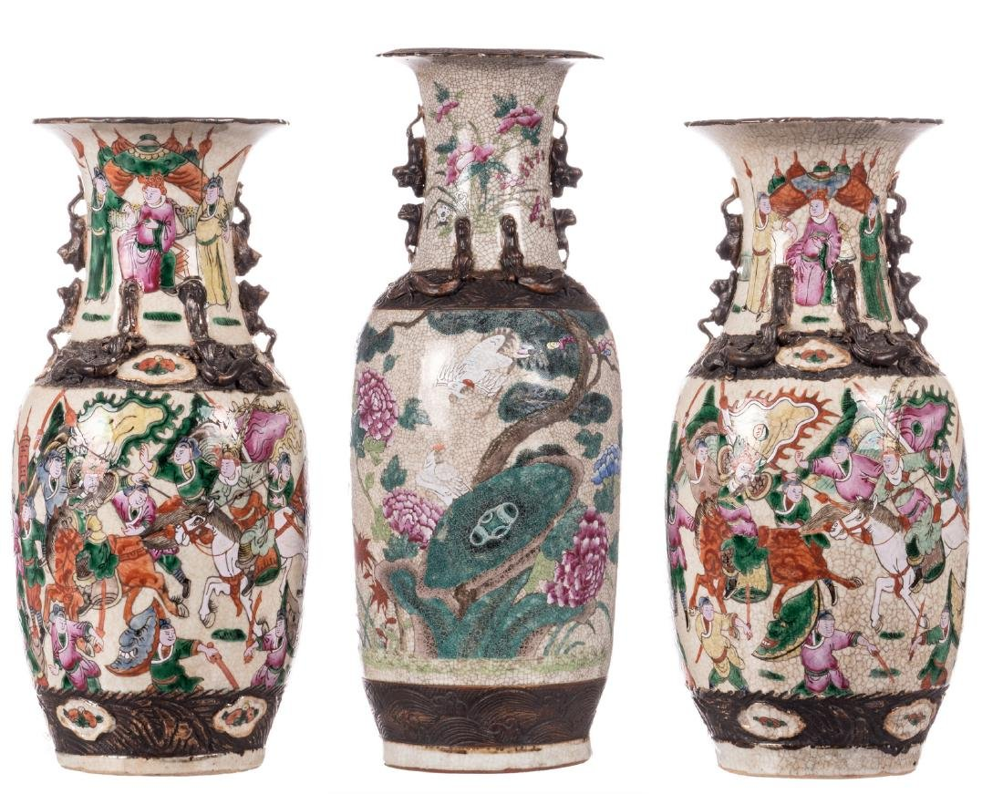 A Chinese famille rose stoneware vase, decorated with