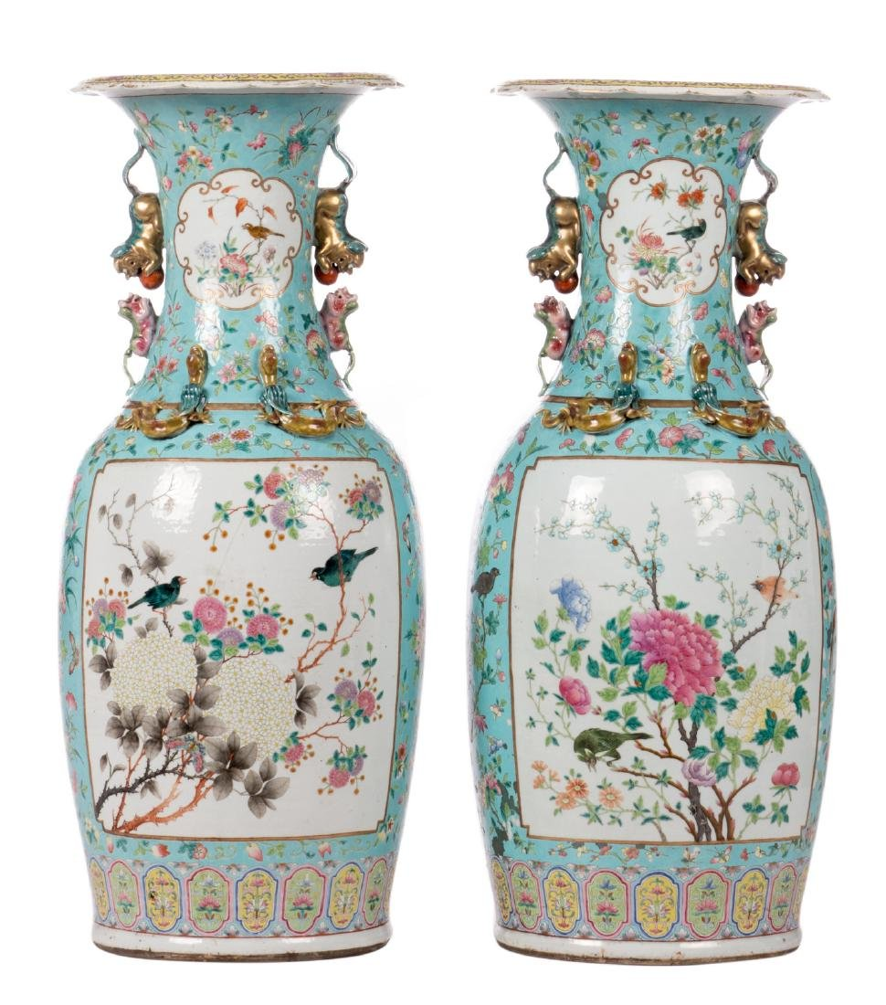 A pair of Chinese turquoise ground vases, overall