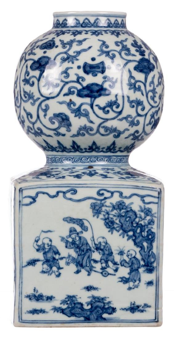 A rare Chinese blue and white vase, decorated with